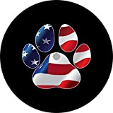 TIRE COVER CENTRAL Paws US American Flag Spare Tire Cover (Select tire Size/Back up Camera Option in MENU) Custom Sized to Any Make/Model (245/75r17 Centered Back up Camera)