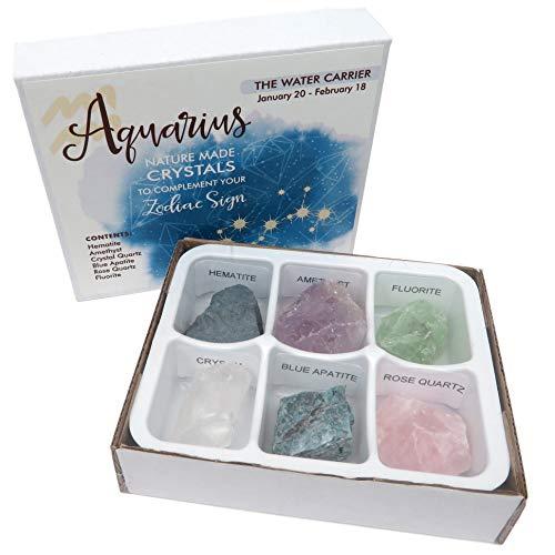 Rock Paradise Horoscope Stone Box Set - Aquarius Zodiac Sign – Healing Crystals Birthstone Charms – Astrology Crystal Healing Horoscope Gift