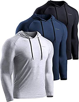 TSLA Men s Long Sleeve Pullover Dry Fit Running Workout Shirts Athletic Fitness & Gym Shirt Hoodie Pullover Black/Navy/Light Grey X-Large