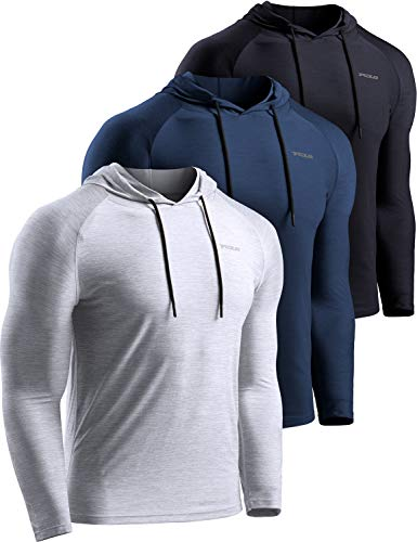 TSLA Men's Long Sleeve Pullover, Dry Fit Running Workout Shirts, Athletic Fitness & Gym Shirt, Hoodie Pullover Black/Navy/Light Grey, X-Large