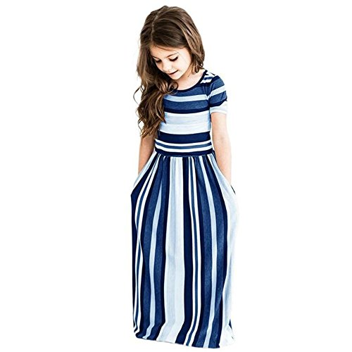 Miss Bei Girl's Summer Short Sleeve Stripe Holiday Dress Maxi Dress with Pocket Size 0-7T,Long Sleeve has Arrived 3-9T!! (Stripe Blue, 8-9Years/160cm)