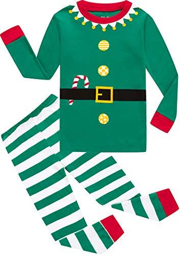 shelry Boys Christmas Elf Pajamas Girls Cotton Pjs Children Pants Set Long Sleeve Sleepwear Size 6