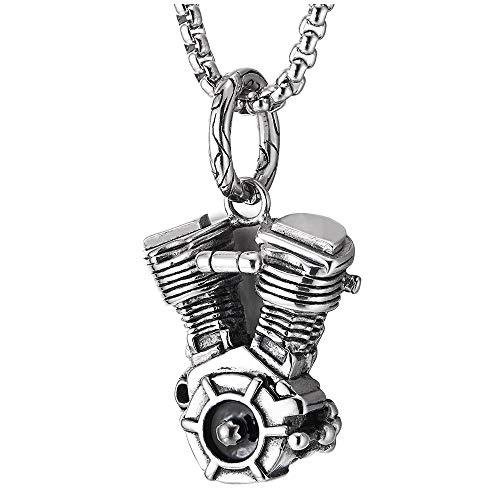 iMETACLII Gótico Biker Marina Timón Motor Collar con Colgante de Hombre, Acero Inoxidable, 75cm Cadena de Trigo