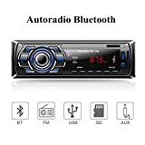 Aigoss Autoradio Bluetooth, 60W x 4 Auto Stereo Audio Ricevitore FM Microfono...