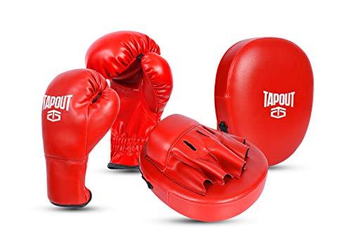 Tapout Kit Boxeo Guantes Niño Niña y Manoplas Combo Conjunto Entrenamiento PU Principiante Kids Junior Trainer (Rojo)
