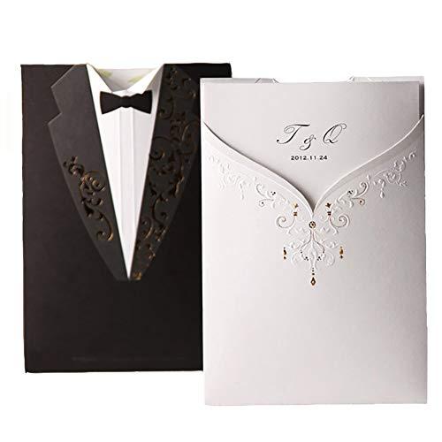 Einladungskarten Hochzeit Wishmade Einlaudungen Weiß & Schwarz in Brautpaar-Figur Set 50 Stücke inkl Umschläge