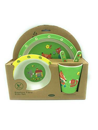 thelowprice Juego de Vajilla Infantil Hecho de Fibra Bambú ecológico. Sin tóxicos BPA. Apto para Lavavajillas. Incluye Platos, Vaso y Cubiertos. Modelos a Elegir (Zorro 2 - Verde)