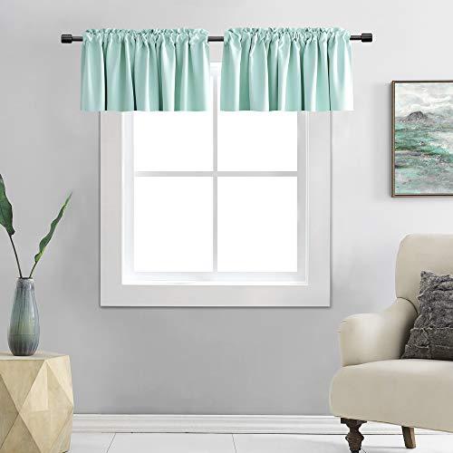 DONREN 2 Panels Room Darkening Aqua Valances for Windows - Rod Pocket Kitchen Window Treatment Valances (42 Wide by 15 Inches Long)