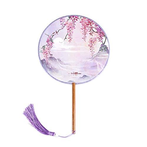 MOJIE Fotografía Antigua De Las Señoras De La Borla Translúcida Impresión Fan Redonda Accesorios Atrezzo (Color : Purple)