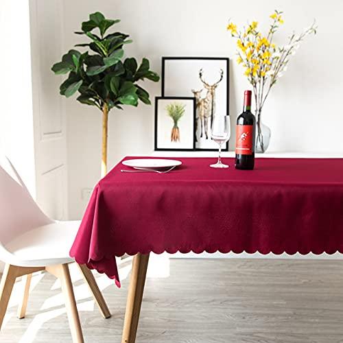 Mantel de Fibra de poliéster Superposiciones de Mesa Decoración de Boda Banquete Comedor Sala de conferencias Cubierta de Mesa Mantel de Navidad-Vino, 1.2X1.6m