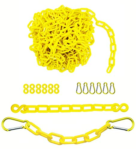 Reliabe1st 26 Feet Yellow Plastic Safety Barrier Chain with 6 S-Hooks and 6 Carabiner Clips | Caution Security Chain Safety Chain for Crowd Control, Construction Site | Safety Barrier