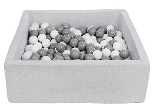 Velinda Piscine a balles pour Enfant, Dimensions: 90x90 cm, Aire de Jeu + 300 balles (Couleurs des balles: Blanc,Gris)