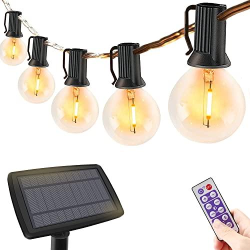 Catena Luminosa Esterno Solare con telecomando, 10 m dimmerabile Luci da Esterno con 30+3 lampadine LED , G40 Lucine da Esterno Decorative per Terrazzo, giardino, balcone, barbecue