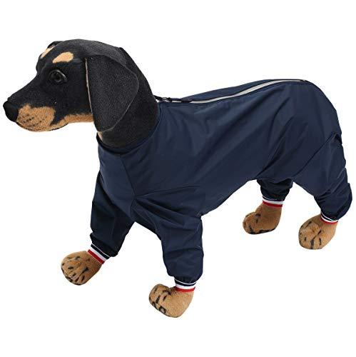 Geyecete1/2 pierna traje de pantalones, impermeable para perro, chaqueta ligera para mascotas, para perros grandes, medianos y pequeños, cachorro, cuatro patas, azul marino-XXL