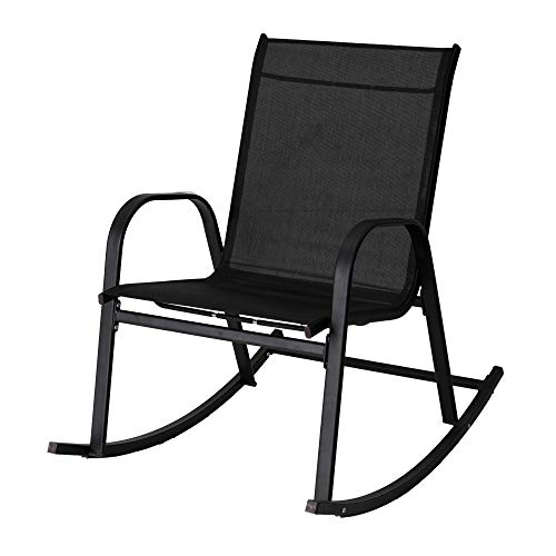 DREAMO Garden Rocking Chair Rocker Relaxing Chair Sun Lounger Textilene Fabric-Black