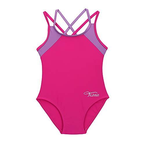 TIZAX Costume da Bagno Intero per Bambina e Ragazze Cinghie Incrociate Solide Rashguard UPF 50+ Asciugatura Rapida Rosa 7-8 Anni
