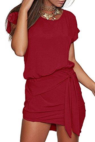YOINS Sommerkleid Damen Kleier Sexy Kurzarm Rundhals Tshirt Kleid Minikleid Langes Shirt Strandkleid mit Raffung Rotwein EU32-34