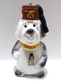 秘密結社 フリーメイソン 陶器製 ビンテージ FROLIC DOG 犬 コインバンク 貯金箱 ワッペン付き USA 高さ21.2cm インテリアに 古商品