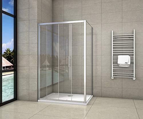 Aica Box doccia angolare, porta con apertura scorrevole e parete fissa, cristallo temperato 5mm, 120x70cm,Altezza:190cm