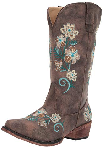 Roper Women's Riley Floral Fashion Boot, Brown, 8.5