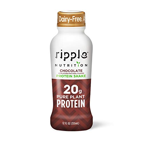 Ripple Vegan Protein Shake Chocolate | 20g Nutritious Plant Based Pea Protein in Ready to Drink Bottles | NonGMO NonDairy Soy Free Gluten Free Lactose Free | Shelf Stable | 12 Fl Oz 12 Pack