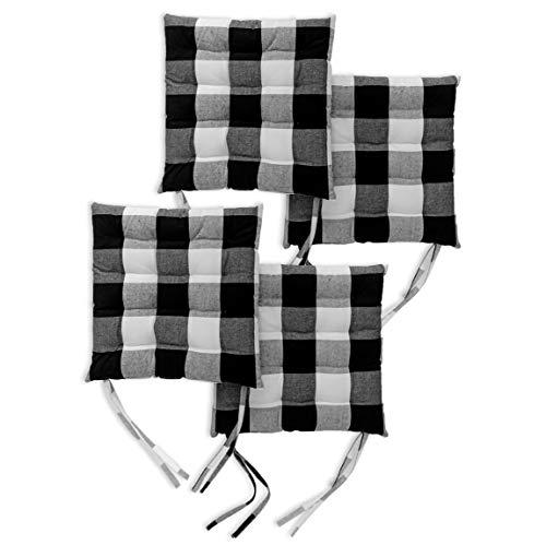 Encasa Homes 4 pcs Almohadillas para sillas 40x40 cm con ataduras - Los cheques de búfalo Negros - Tela de algodón, Cojines de Asiento Cuadrados con Relleno de Fibra Grueso, tamaño Grande
