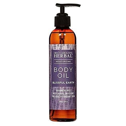 Lavender Body Oil with Organic Jojoba Oil and Calendula, After Shower Oil, Dry Skin Moisturizer, Blissful Earth, Essential Oil Scent with Lavender Vetiver and Clary Sage, Ora's Amazing Herbal