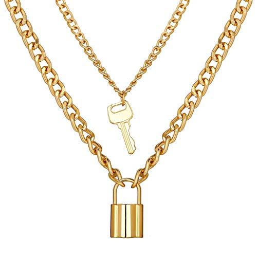 Sleutelslot hanger ketting creatieve retro eenvoudige gouden multi-layered sleutelbeen keten