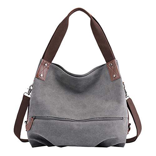 PB-SOAR Damen Modern Canvas Schultertasche Umhängetasche Shopper Handtasche Henkeltasche Hobo Bag Beuteltasche (Grau)