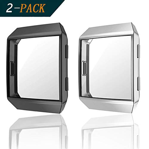 Cerike para Protector Pantalla Fitbit Ionic,(2Pack) TPU All-Around Full Front Screen Protector de Pantalla Accesorios para Reloj Inteligente Fitbit Ionic (Negro+Plata)