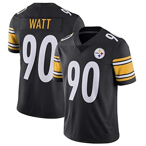 DADD Männer Rugby Jersey T. J. Watt # 90 Pittsburgh Steelers Football-Trainingsjerseys, für Unisexsport-kurzärmliger Sweatshirt Fitness Breath black1-M