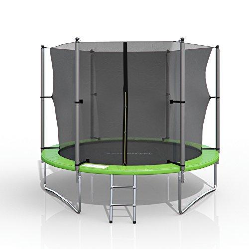 gympatec XXL Trampolin Gartentrampolin Komplettset mit Netz innenliegend Leiter Erdanker Spanngurte (305 cm)