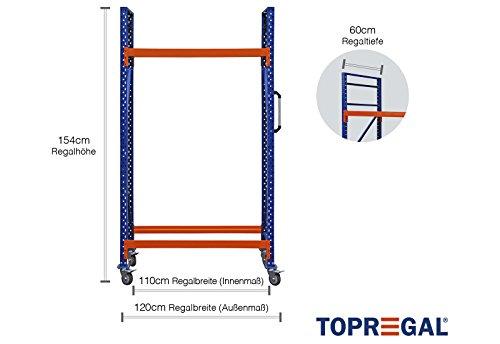Sistema de estanterías para neumáticos (1,2 m de ancho, 60 cm de profundidad, 154 cm de altura)
