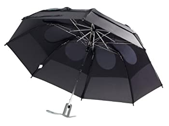 GustBuster Metro Automatic Folding Umbrella Windproof Compact & Portable 43-Inch with  Black