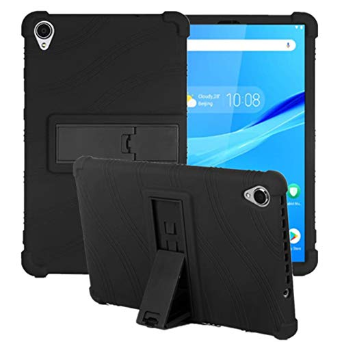 HminSen Case for Lenovo Tab M8 FHD TB-8705F TB-8705N Kids Friendly Soft Silicone Adjustable Stand Cover for Lenovo Tab M8 HD TB-8505F TB-8505X TB-8505I Tablet (Black)