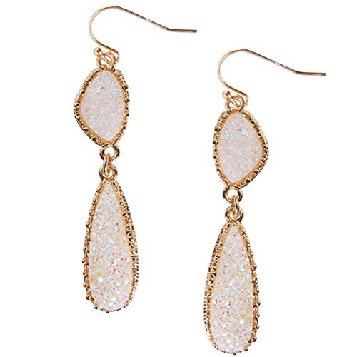Humble Chic Simulated Druzy Drop Dangles - Gold-Tone Long Double Teardrop Dangly Earrings for Women, Simulated Opal, Sparkly Pearly White, Opalescent, Simulated Moonstone, Gold-Tone