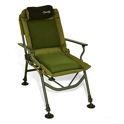 CarpOn Halcyon Silla en Classic, Comfort, Deluxe, cómoda Ideal como Silla de Acampada, Silla para Carpas, Silla de Pesca, Unisex, Verde Deluxe, Large