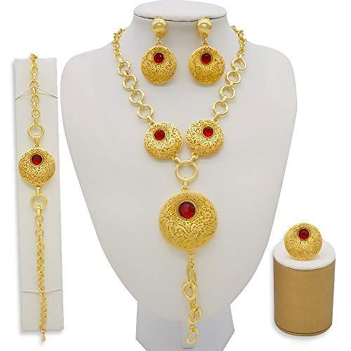 xtszlfj Conjuntos de Joyas de Color Dorado a la Moda de Dubai, Regalos de Boda Nupciales africanos, Fiesta para Mujeres, Collar, Pulsera, Pendientes, Anillo, Conjunto de Joyas