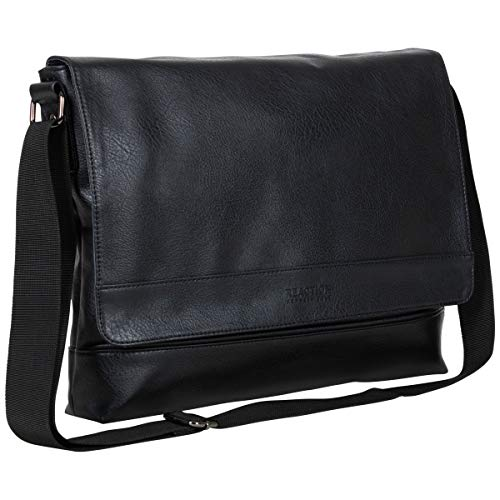 Kenneth Cole Reaction Strident-Class Vegan Leather 15' Laptop & Tablet Crossbody Messenger Bag for Work, School, Travel, Black, Laptop