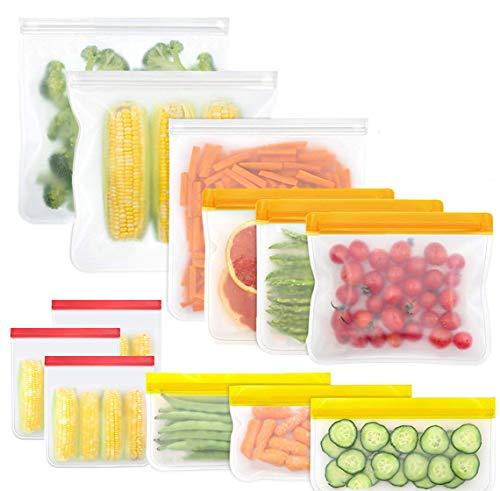 Wiederverwendbare Lebensmittel-Aufbewahrungstaschen für Sandwich, Snacks, auslaufsicher, mit Reißverschluss. One Size 3 XS + 3 S + 3 L + 3 XL