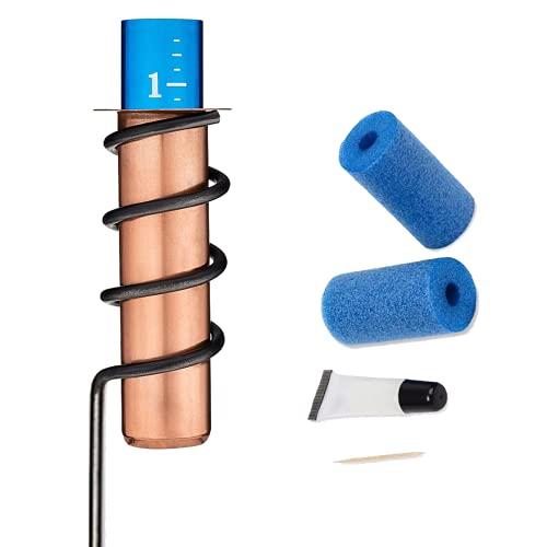 Medidor de lluvia de cobre-medidor de lluvia flotante preciso con kit de reparación de espuma, para decoración de jardín, patio al aire libre, monitoreo de precipitación
