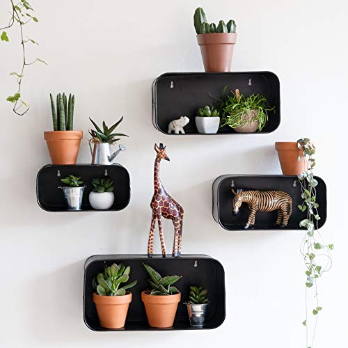 Set 4 Black Box Metal Display Shelves, Industrial Floating Wall Shelf for Bedroom, Kitchen, Living Room, Unique Modern Shadow Shelf Decor, Small Rustic Cube Storage Shelving for Bathroom, Plant Shelf