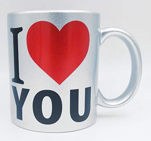 Taza plateada ''I love you'