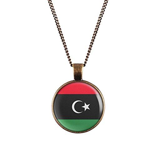 WeAreAwesome Libyen Flagge Halskette - Länderkette mit Fahne Anhänger Unisex Kette Nordafrika Afrika