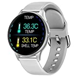 RAIMI Fitness Tracker Smart Watch, Sport Activity Tracker, Bluetooth Bracelet with Heart Rate/Thermometer/Blood Pressure/SpO2/Sleep Tracker/Pedometer, Sync with Google Fit, iOS & Android App (Gray)