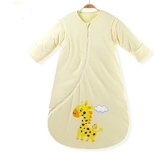 EsTong Unisex Baby Cotton Sleeper, Yellow, Size Small(25.6'-31.5'height of chi