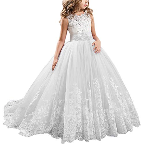 IWEMEK Flower Girls Lace Applique Dresses Kids Tulle Lace Spliced Embroidered First Communion Dress Princess Wedding Bridesmaid Birthday Evening Christening Pageant Dance Party Ball Gown Photography