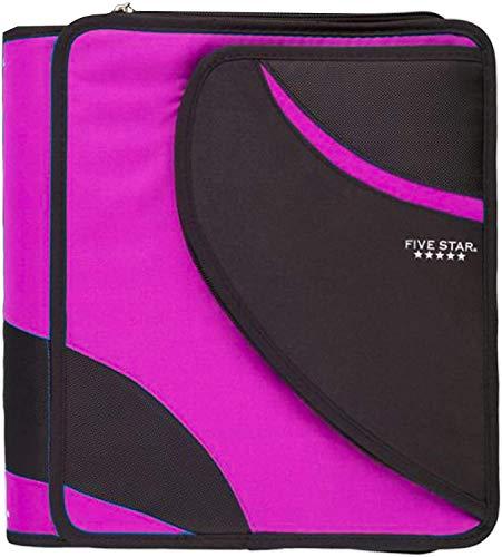 Five Star 1.5 Inch Zipper Binder with Pocket 3 Ring Zipper Binder School Supplies Bundle (Pink, 8 1/2' x 11')