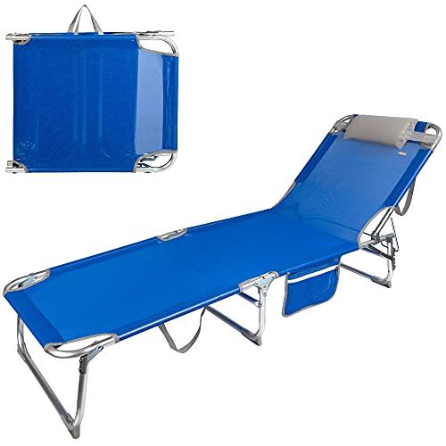 Aktive 62611 - Tumbona plegable de playa, Tumbona con cojín, color azul, mide 188 x 58 x 65 cm, altura del asiento 26 cm, respaldo reclinable, 3 posiciones, 100 kg máx, Aktive Beach