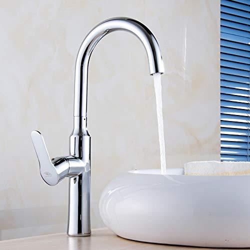 QCSMegy Mezclar el grifo del lavabo del cobre solo agujero sobre el grifo del lavabo del contador grifo del hotel